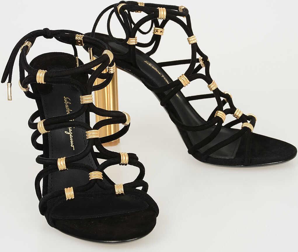 Salvatore Ferragamo 9 cm Suede FIUGGI Sandals BLACK