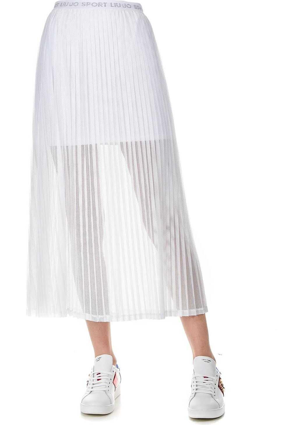Liu Jo Mesh midi skirt White