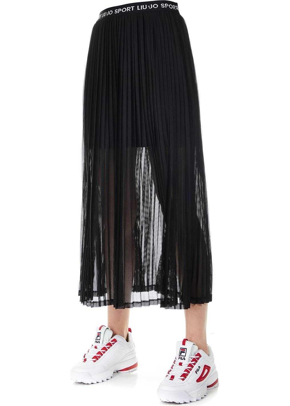 Liu Jo Mesh midi skirt Black