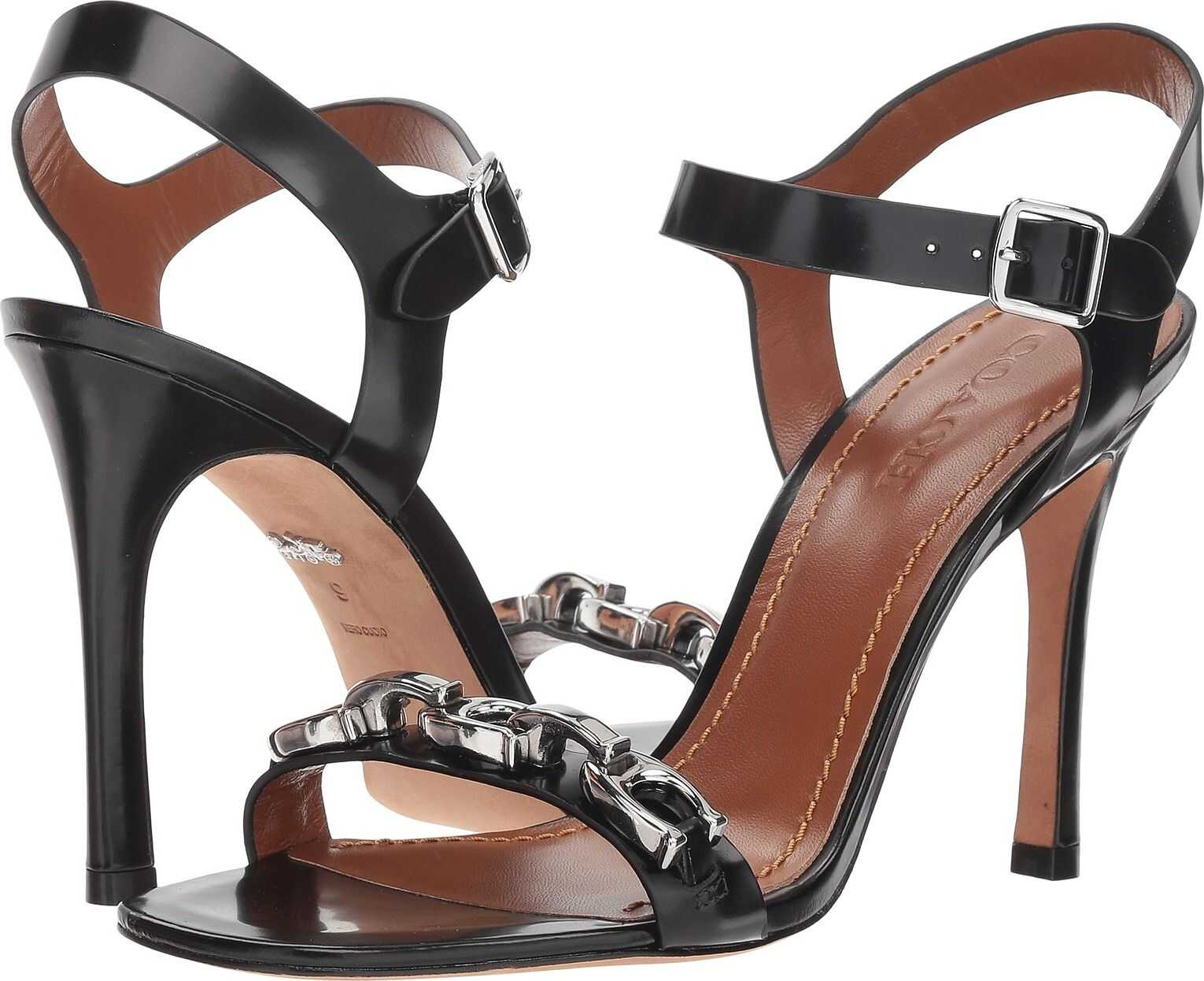 COACH Bonnie Sandal with Signature Chain Black Cordovan