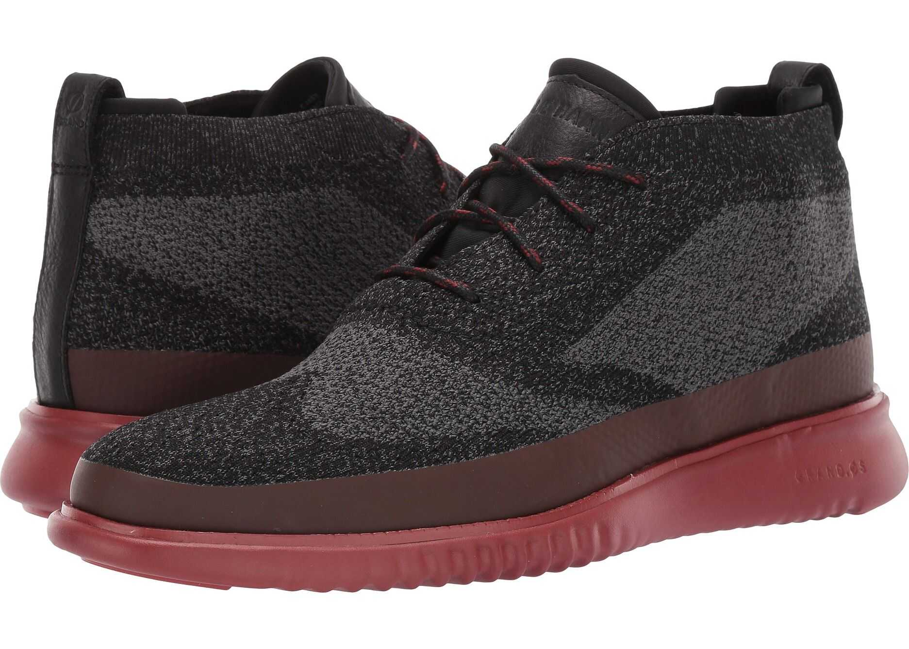 Cole Haan 2.Zerogrand Stitchlite Chukka Water Resistant Black/Magnet Knit/Red Ochre