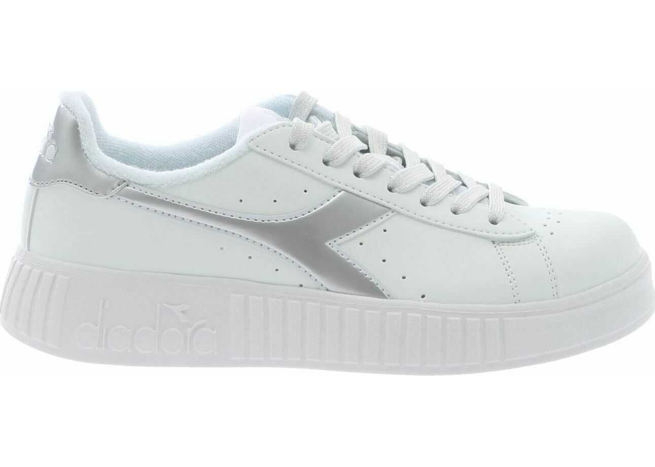 Diadora White And Silver Game P Stem Sneakers* White
