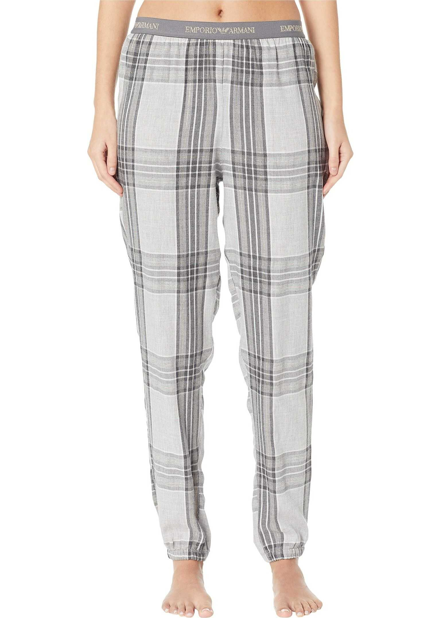 Emporio Armani Tartan Flannel Pajama Bottoms Grey Tartan