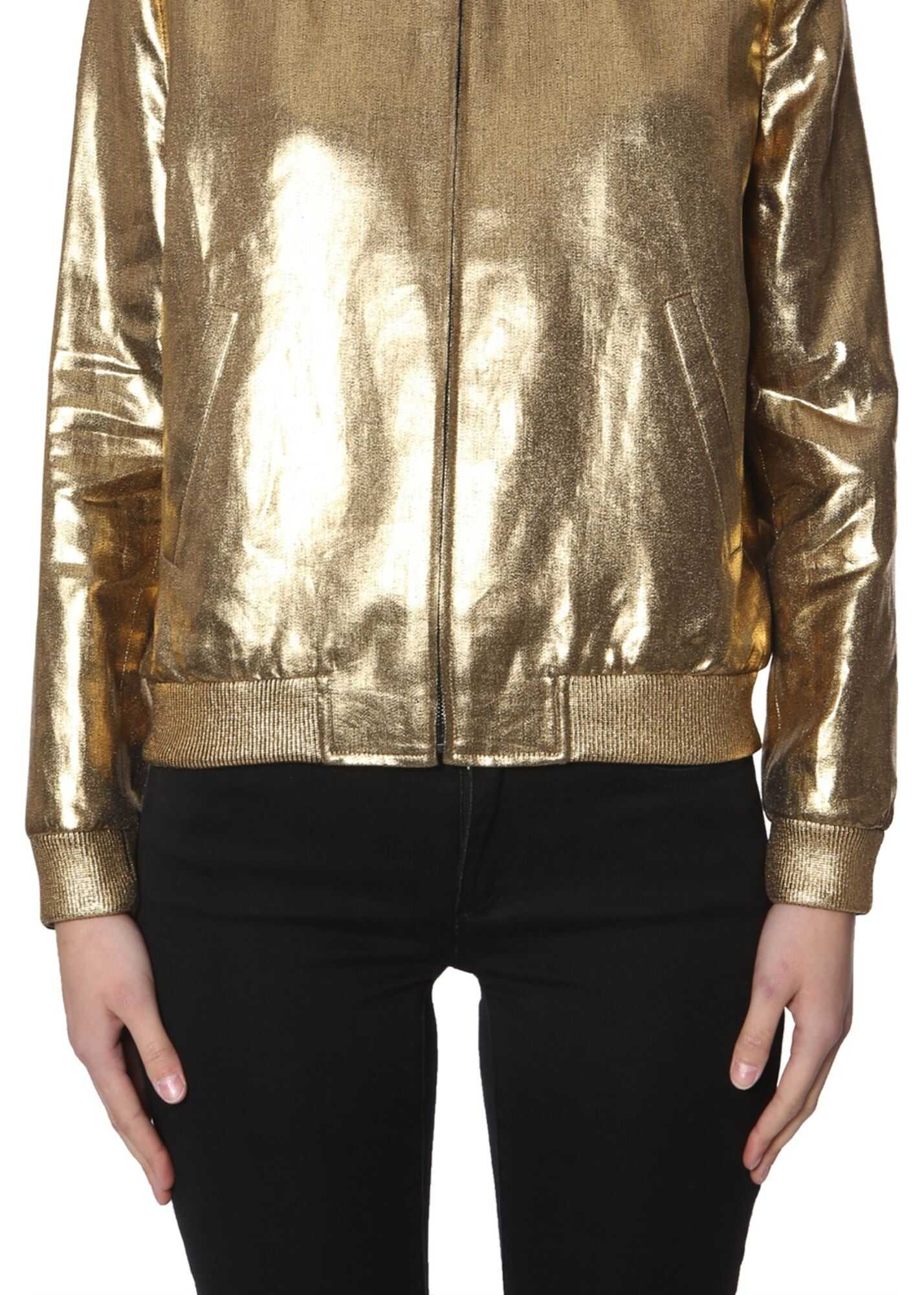 Saint Laurent Varsity Bomber GOLD