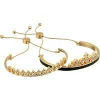 Bratari Duo Bangle Slider Close with Stone Accents Jet, Gold Femei