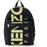 Genti de mana Black Backpack With Fluorescent Yellow Logo Barbati