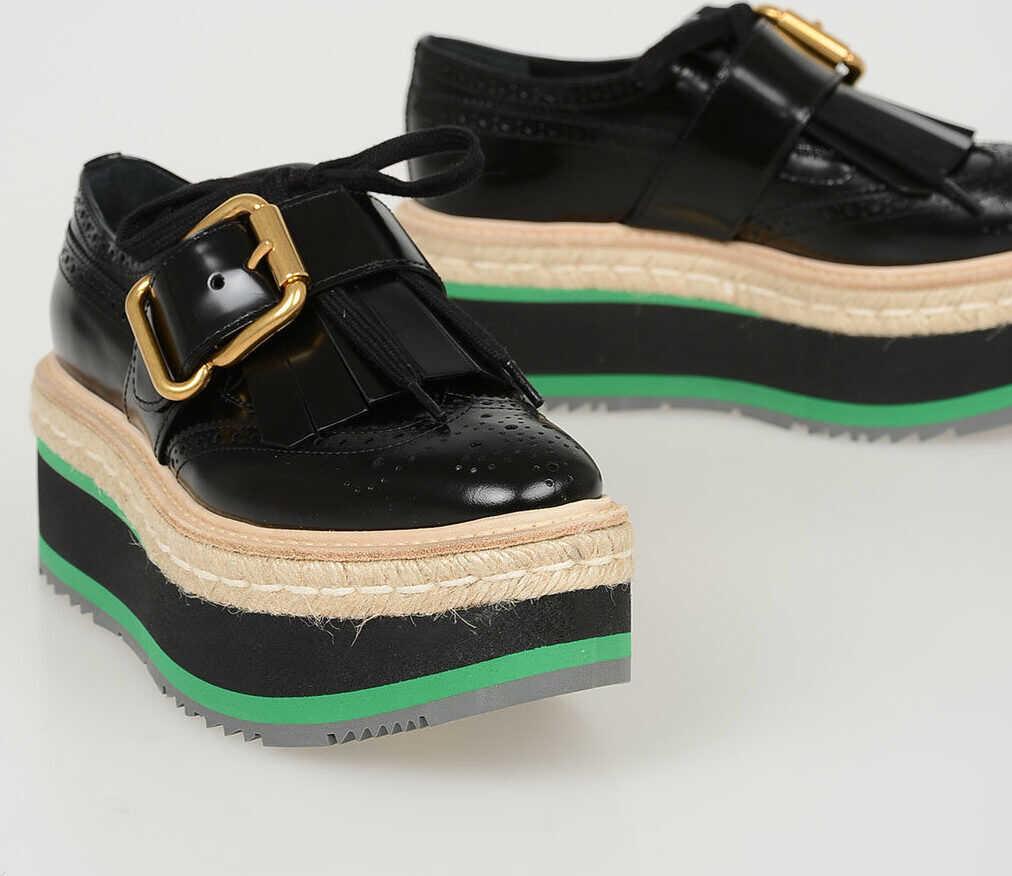 Prada Leather Derby Shoes with Platform 6 cm N/A