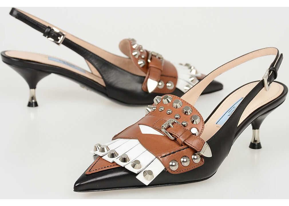 Prada Studded Leather Kitten Heel Slingbacks 7 cm N/A