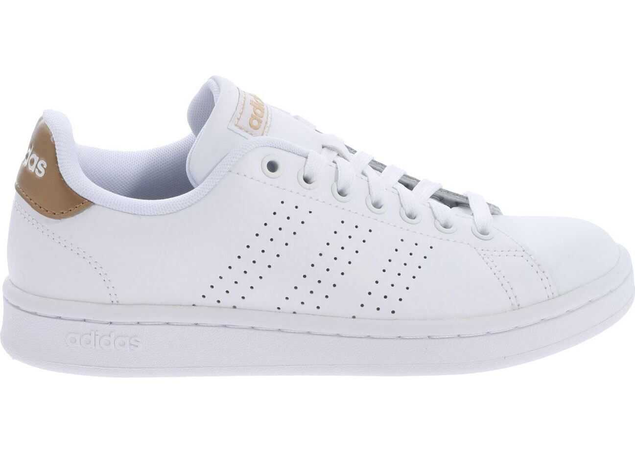 adidas White Advantage Sneakers With Gold Detail White