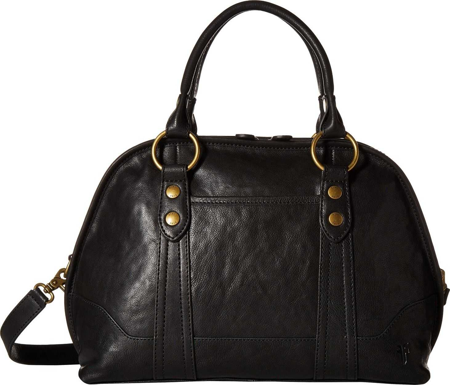 Frye Lucy Domed Satchel Black/Black Polished Full Grain