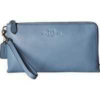 Genti Plic Pebbled Leather Double Zip Wallet Femei