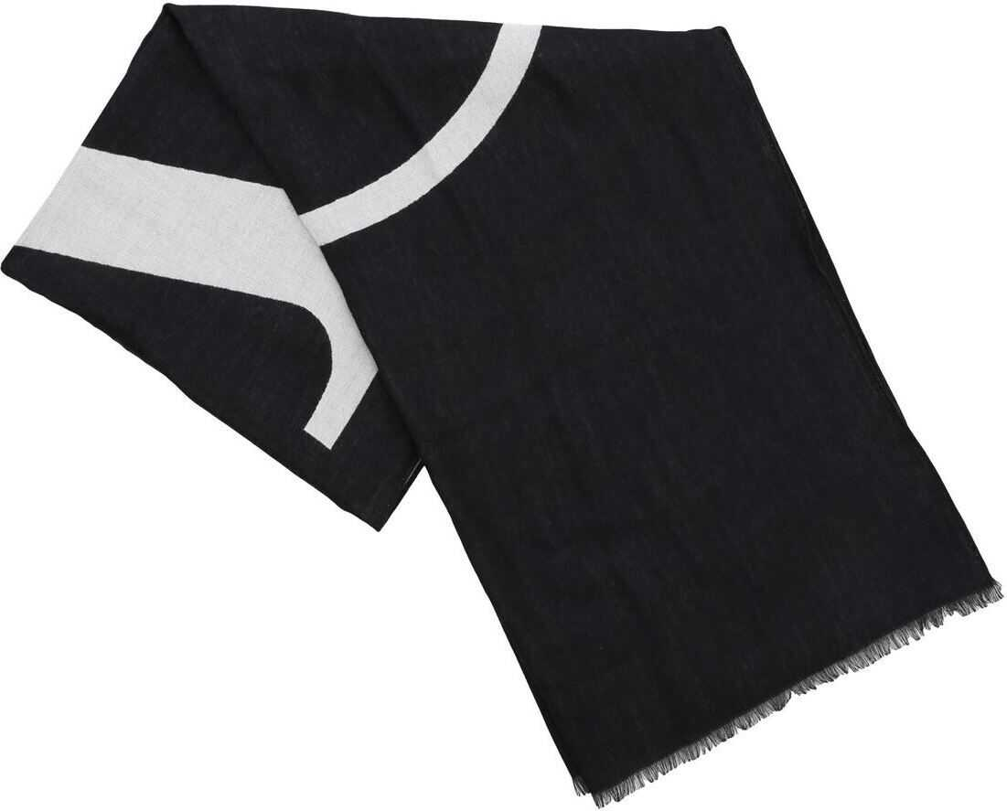 Valentino Garavani Go Logo Jacquard Scarf In Black And White Black