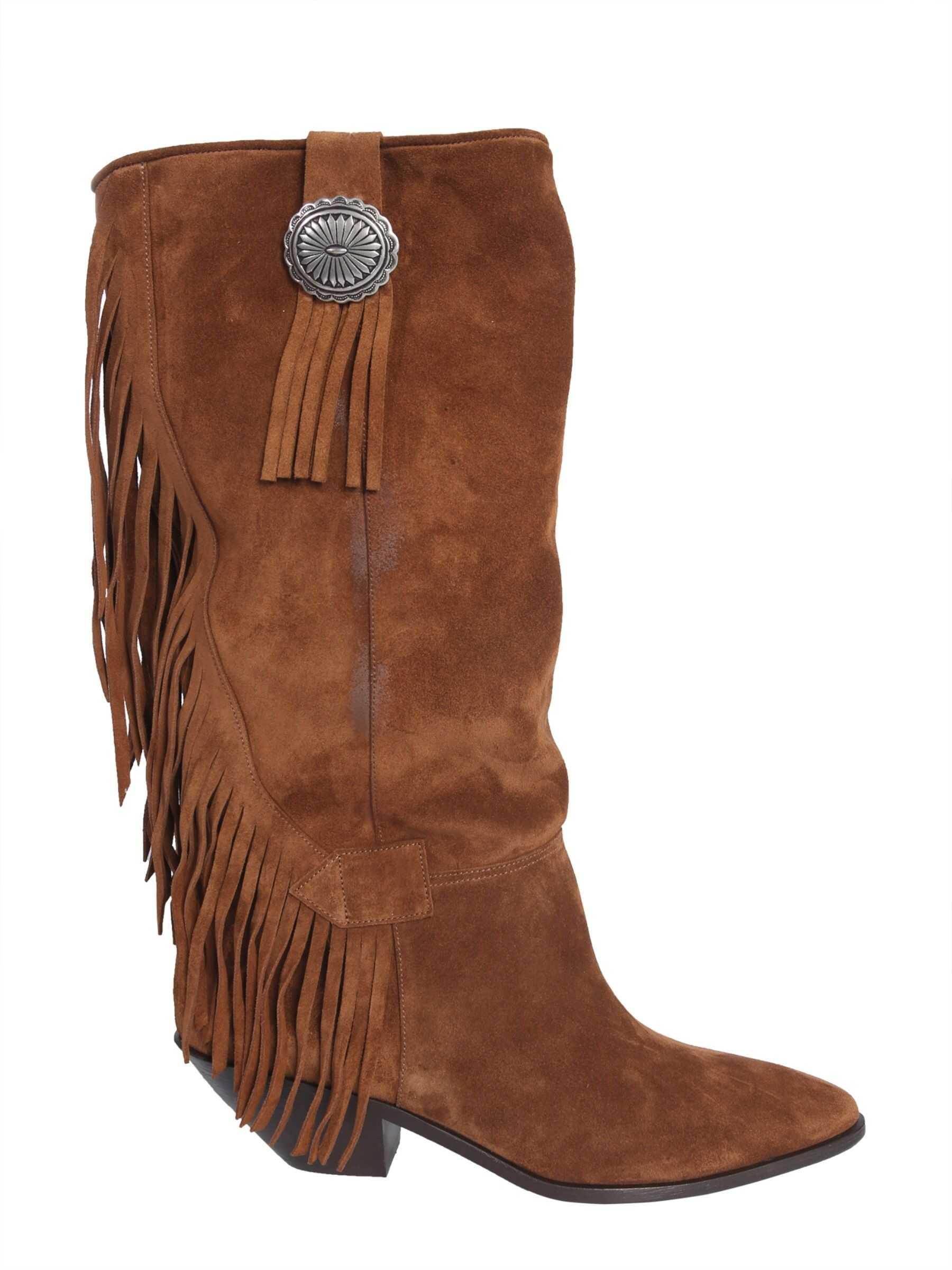 Saint Laurent Texano High Boots 552656_0RN002529 BROWN imagine b-mall.ro