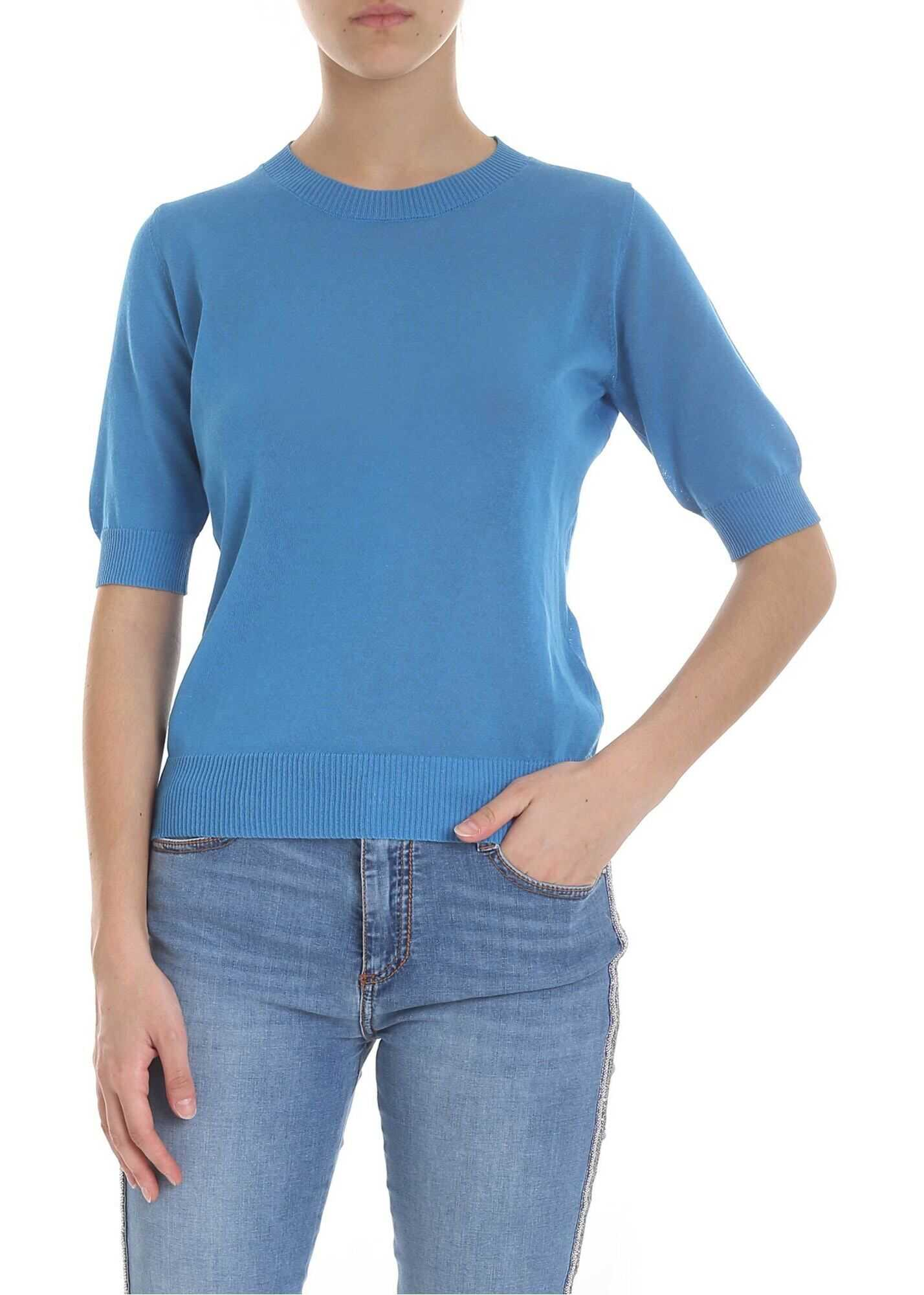 Ermanno Scervino Turquoise Knitted T-Shirt Light Blue
