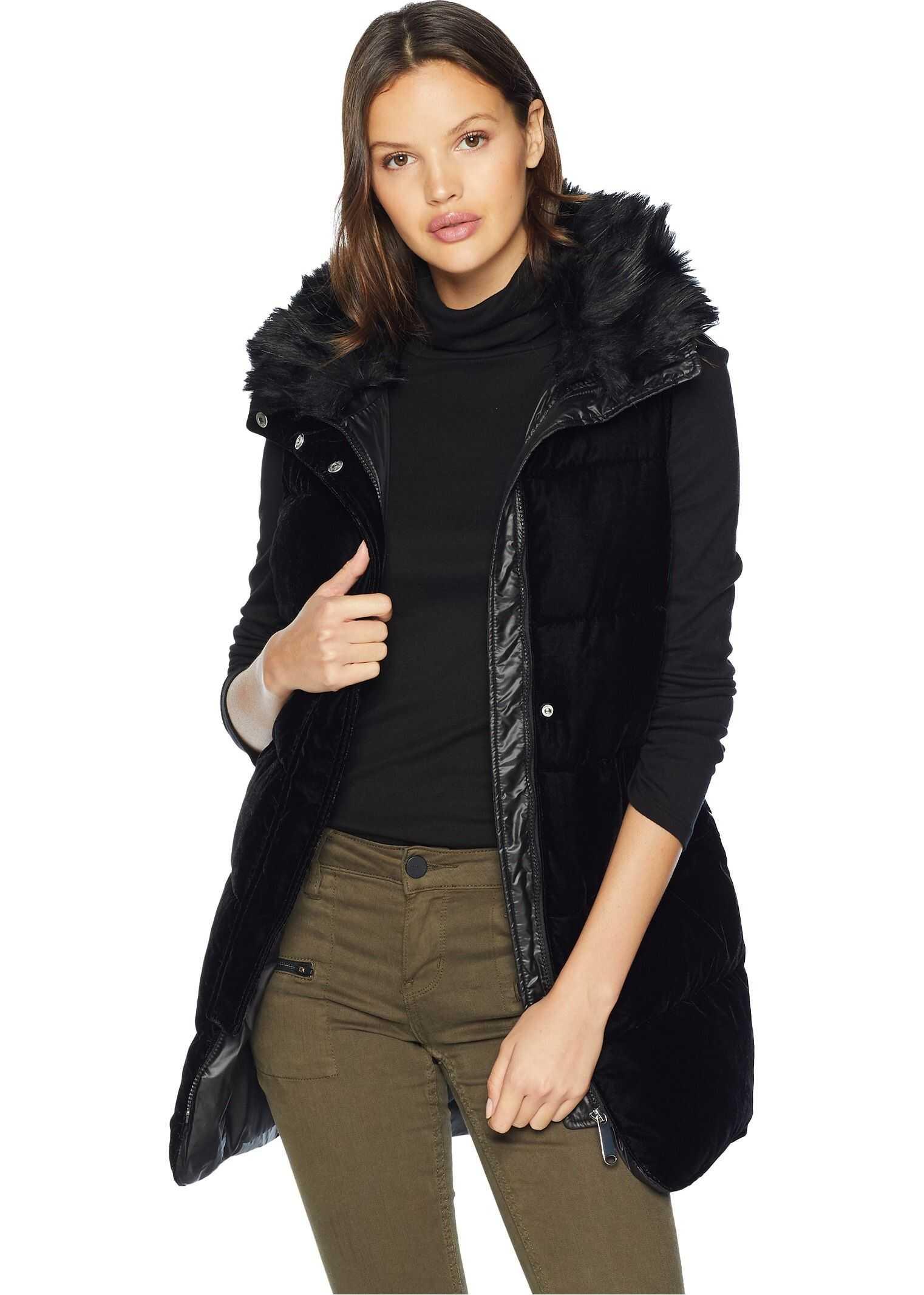 Sam Edelman Vest w/ Combo Velvet Front Poly Nylon Back Black
