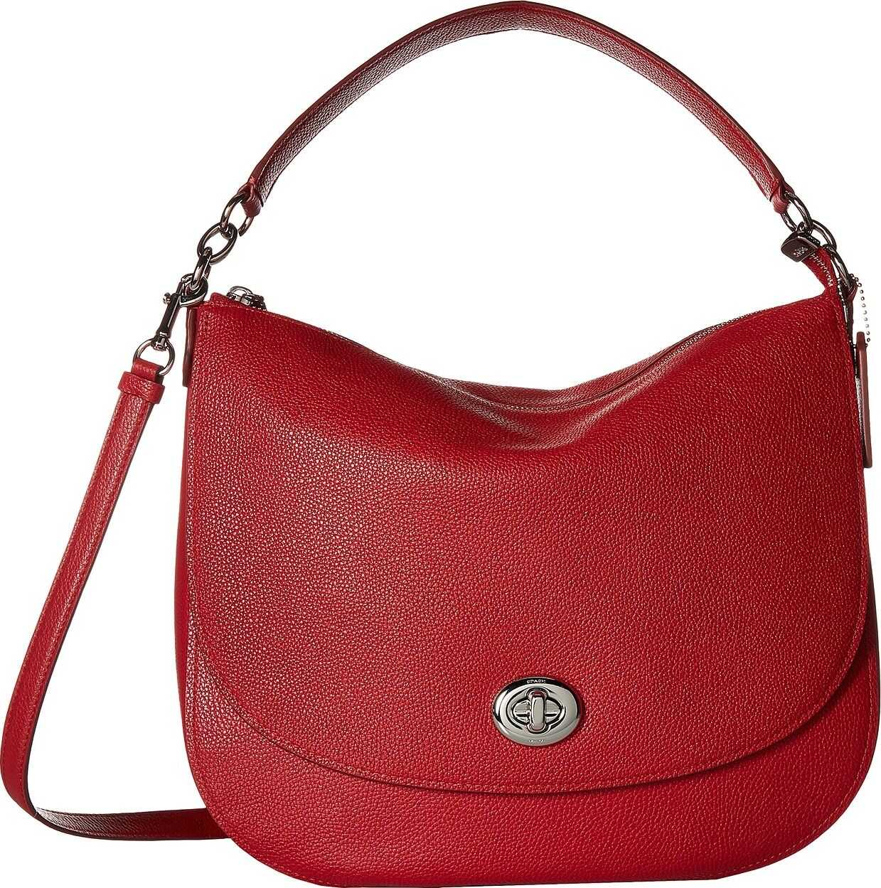 COACH Polished Pebble Updated Turnlock Hobo SV/True Red