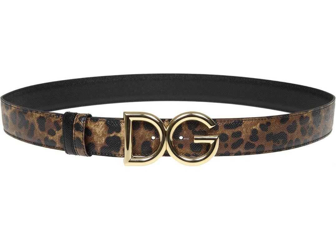 Dolce & Gabbana Leo Printed Leather Belt With Dg Buckle Animal print