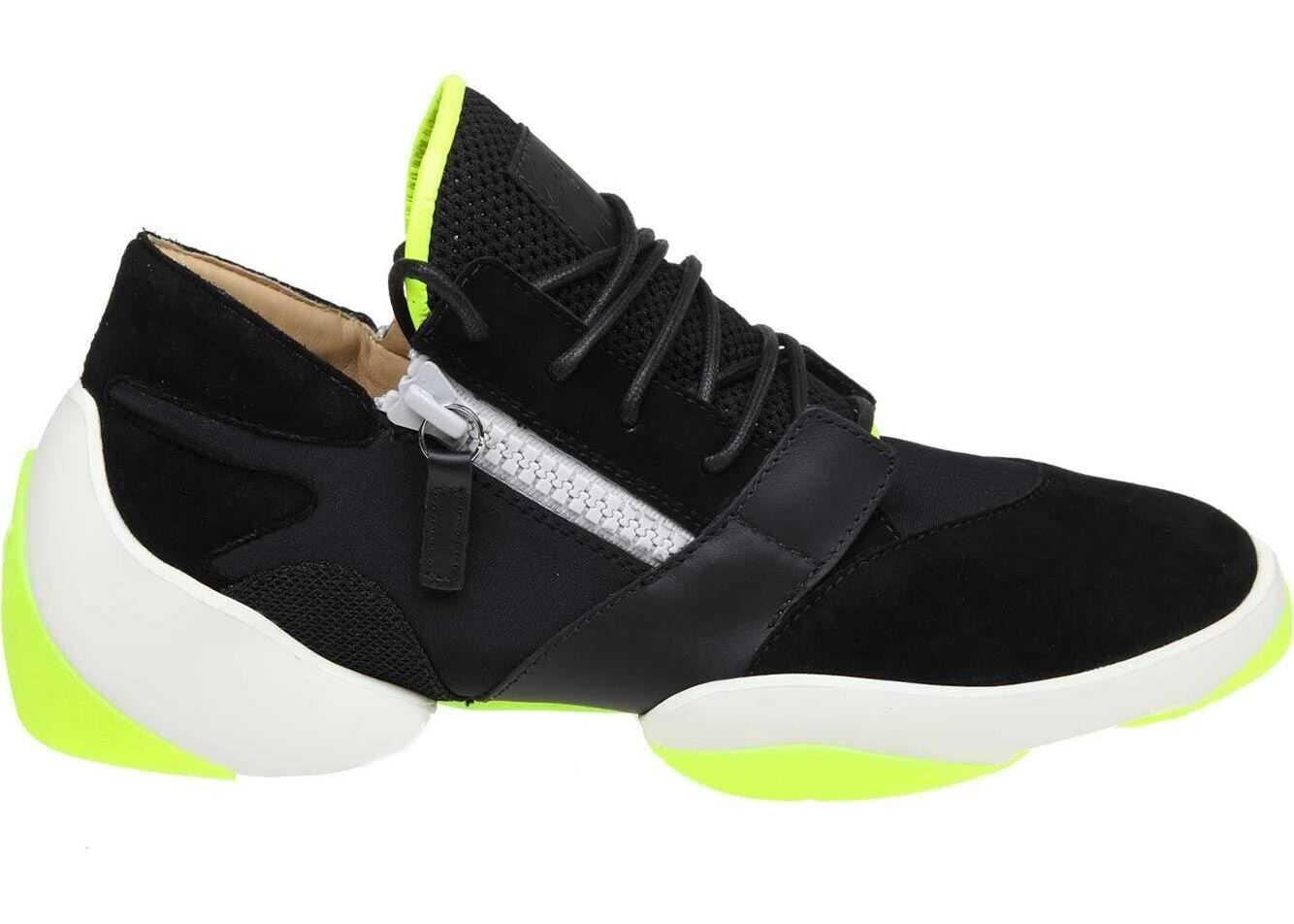 Giuseppe Zanotti Suede Jump Black And Neon Yellow Sneakers Black