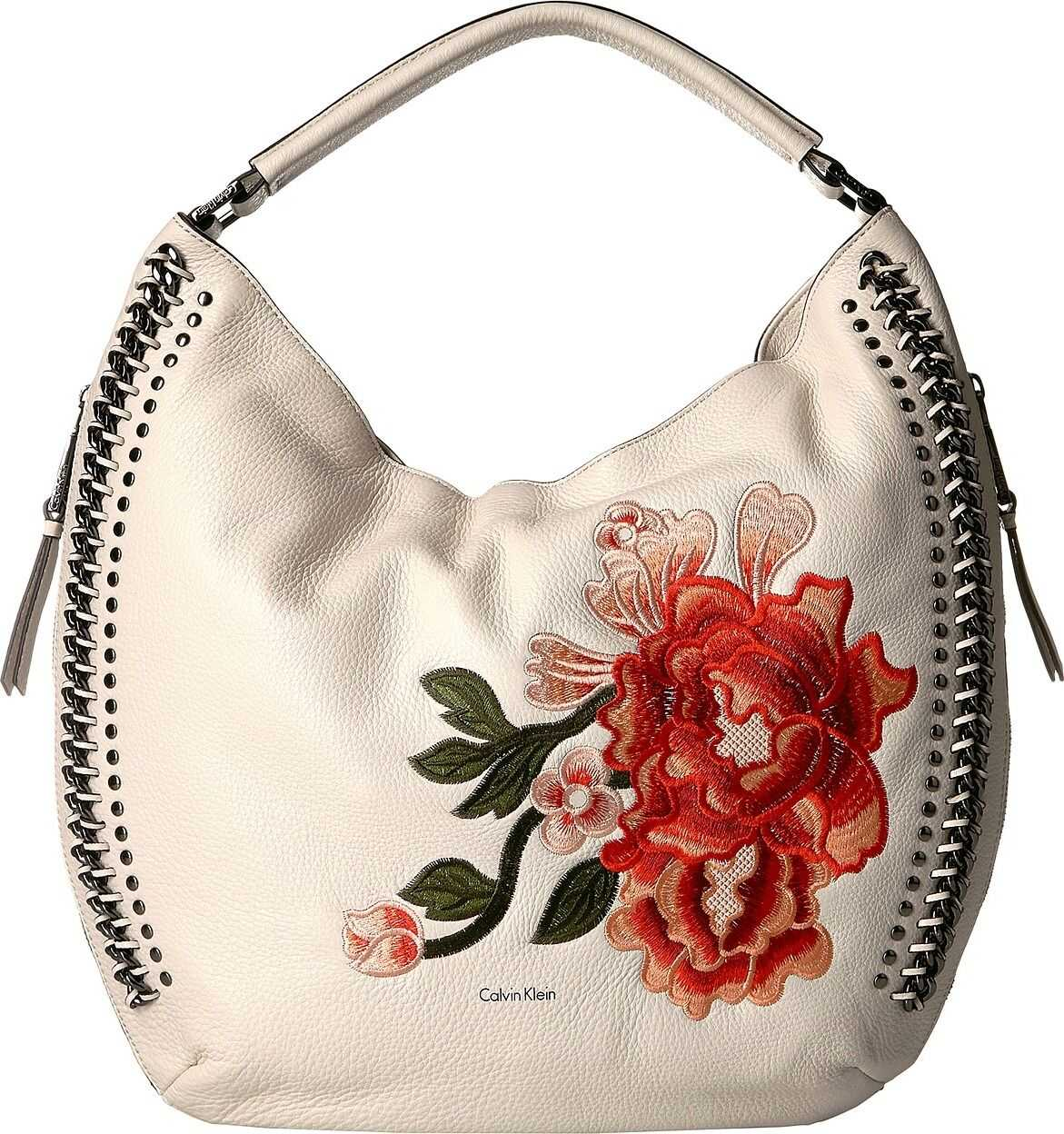 Calvin Klein Flower Embroidery Hobo Floral White