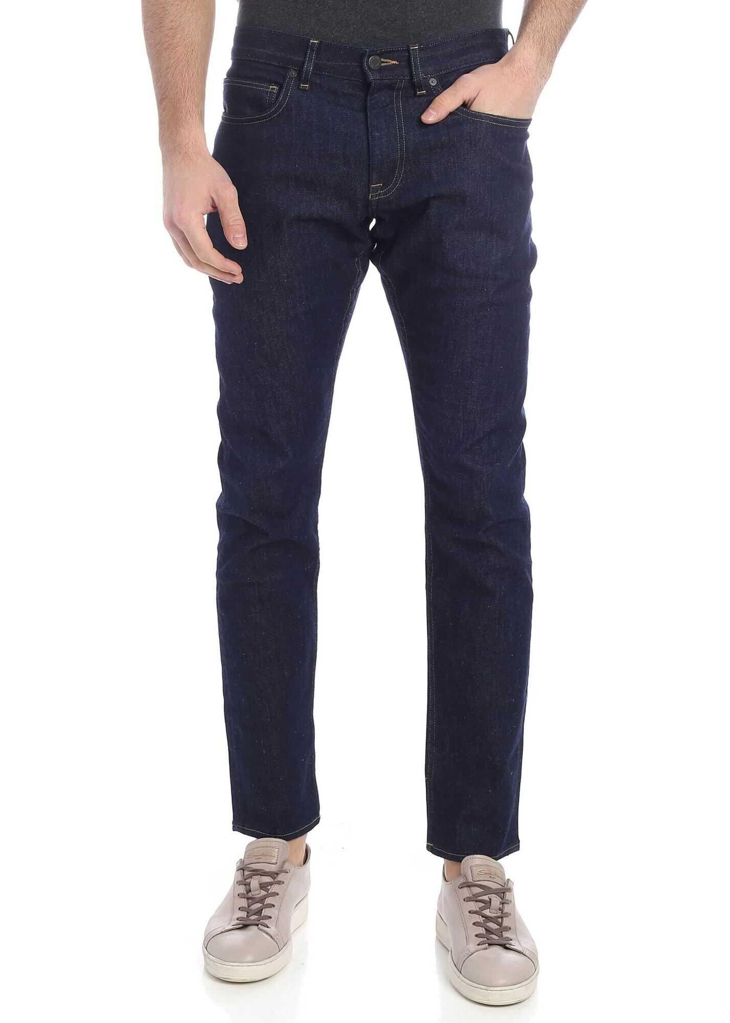 Calvin Klein 5 Pocket Dark Blue Jeans Blue