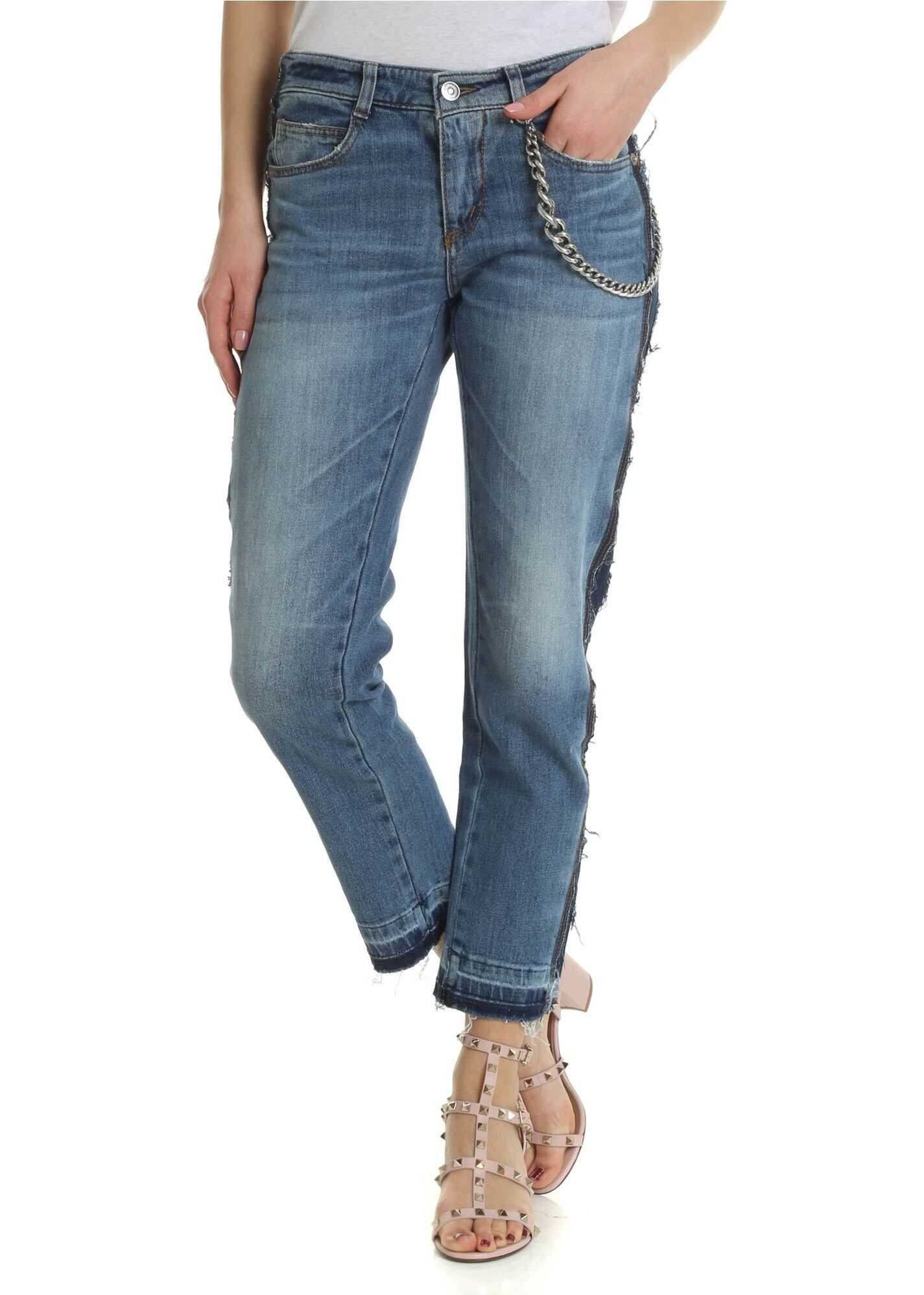 Ermanno Scervino Boyfriend Jeans With Applied Chain Light Blue