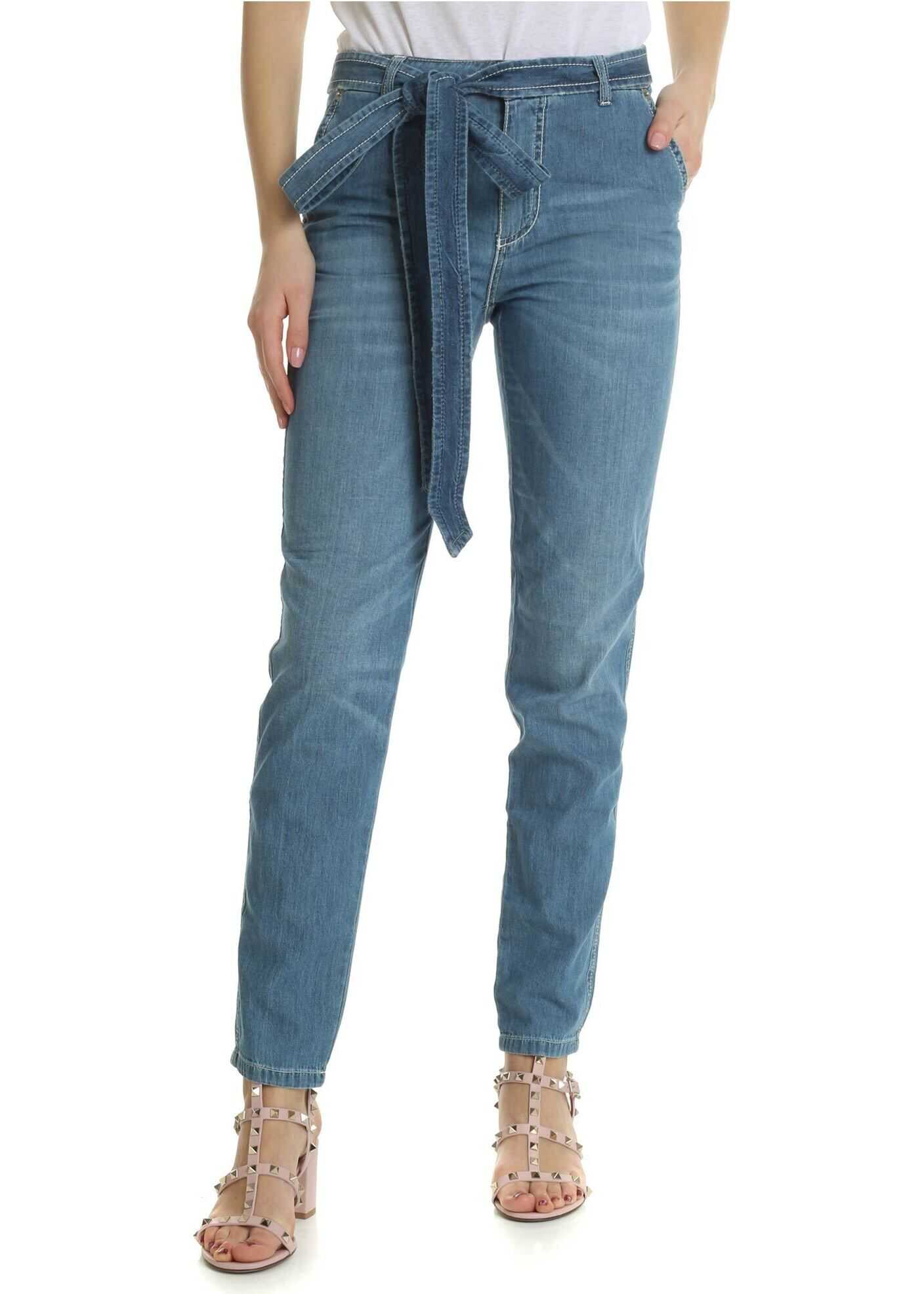 Ermanno Scervino Light-Blue Jeans With Ribbon On The Waist Light Blue