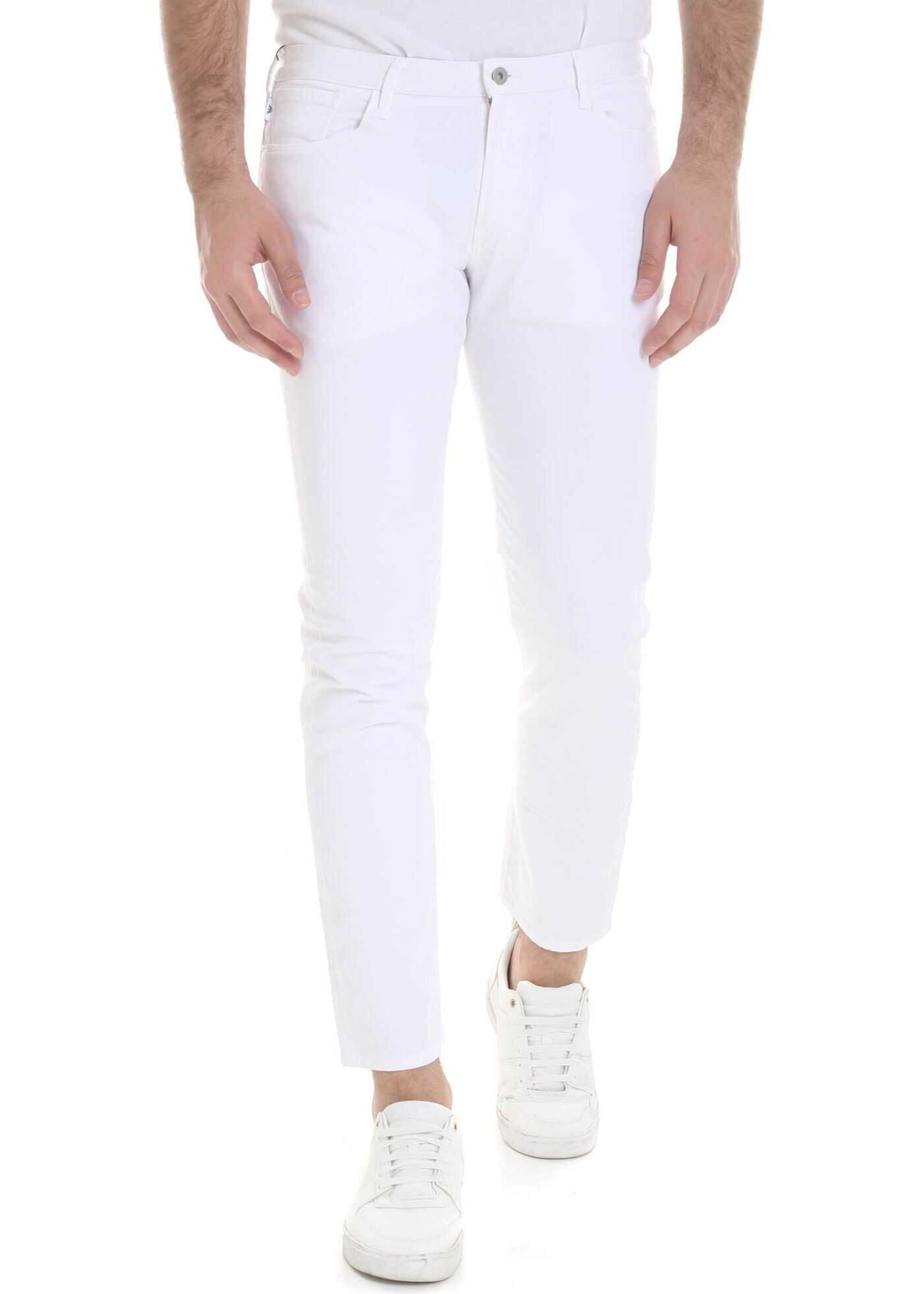 Emporio Armani Stretch Cotton Jeans In White White