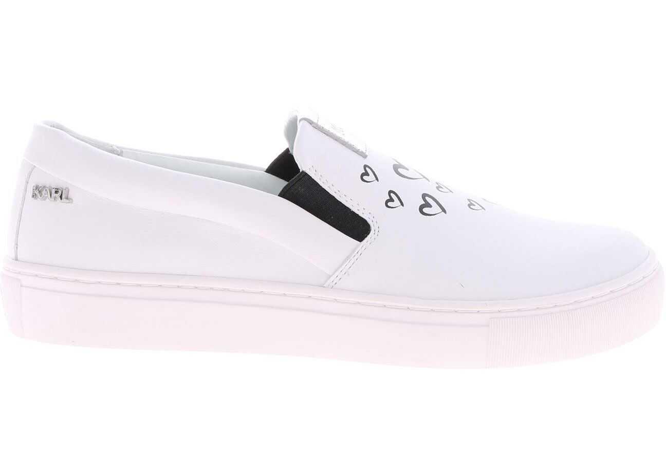 Karl Lagerfeld Kupsole Love Slip-On In White Leather KL61063 011 White imagine b-mall.ro