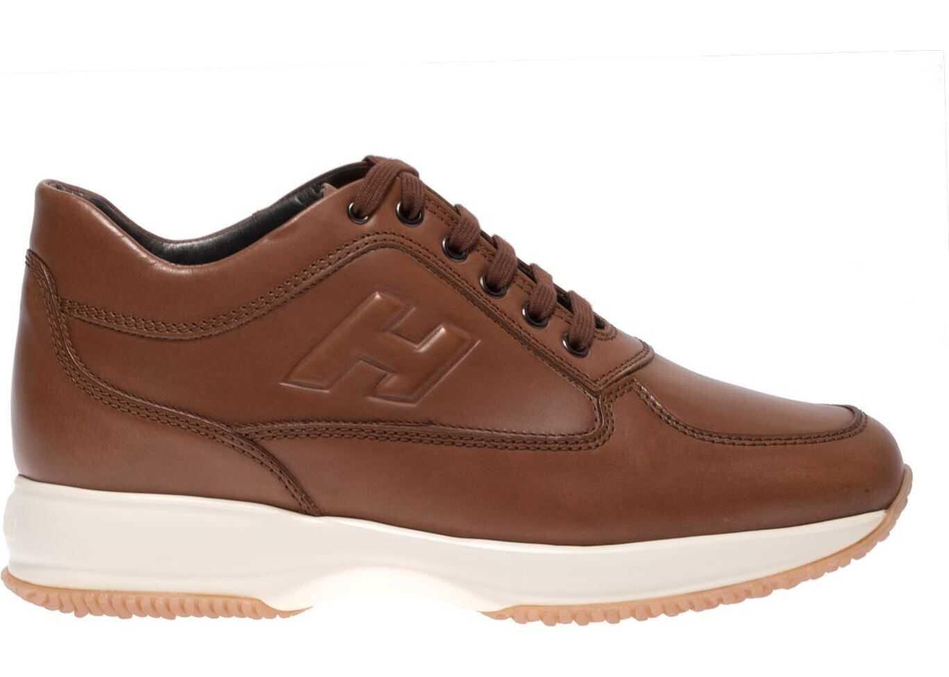 Hogan Leather Brown Interactive Sneakers Brown