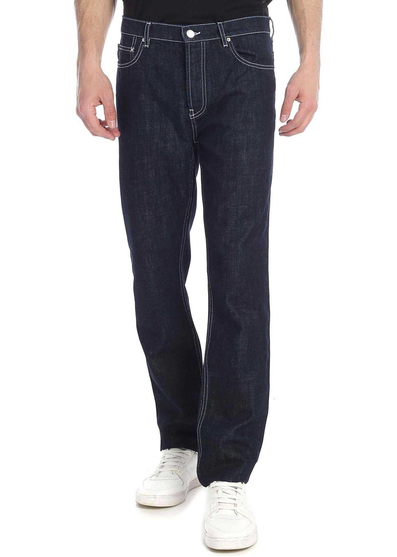 Kenzo Dark Blue Stretch Cotton Jeans Blue imagine