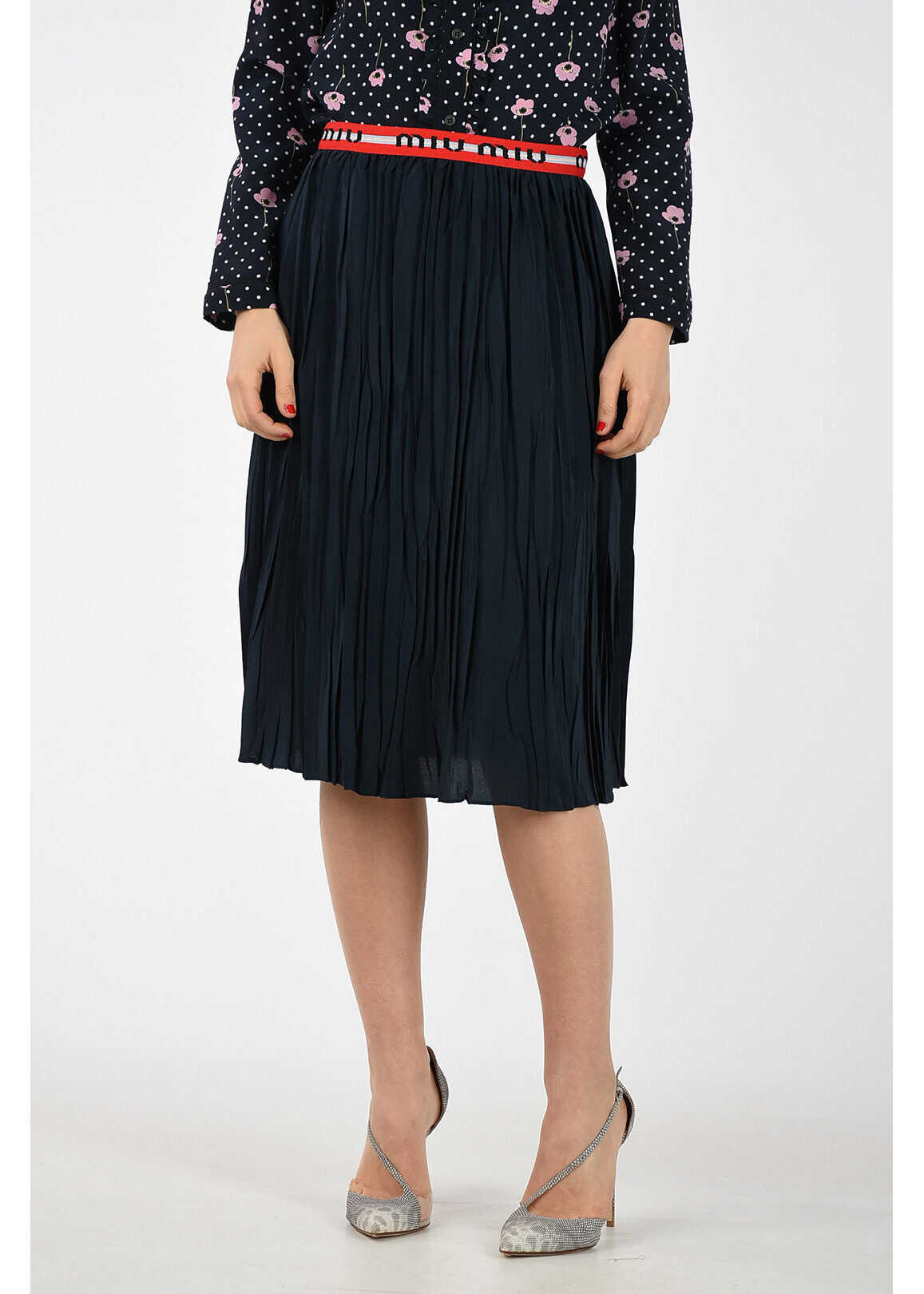 Miu Miu Plisse Skirt MIDNIGHT BLUE