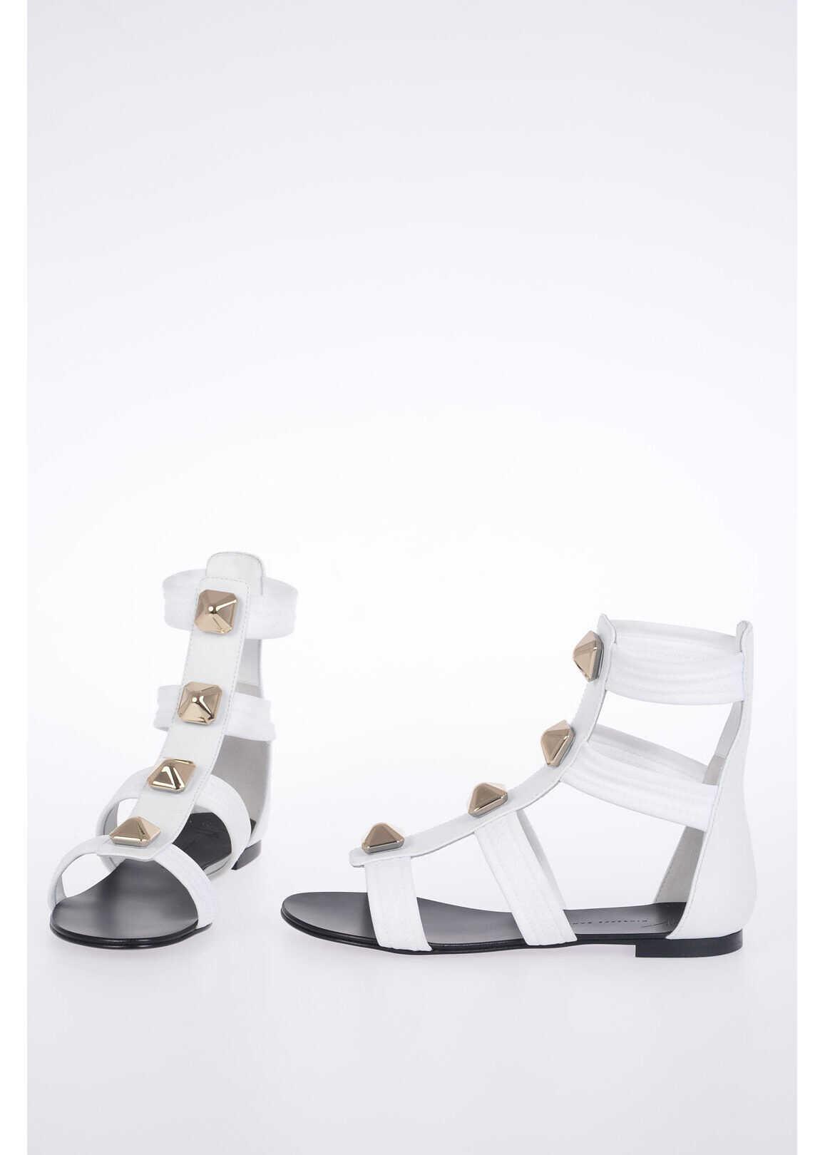 Giuseppe Zanotti Studded Leather BIREL Sandals WHITE