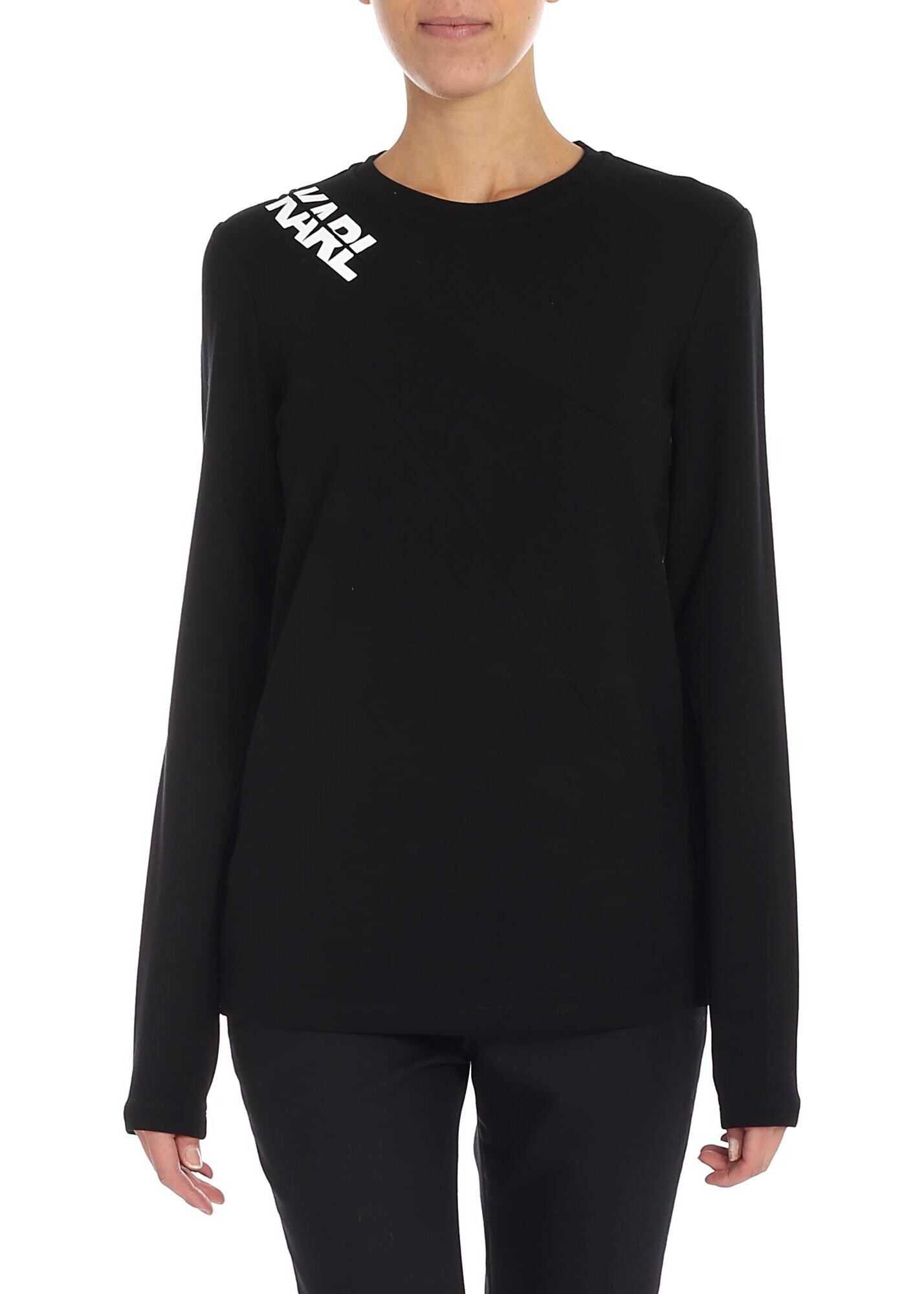 Black T-Shirt With Zip On The Shoulder