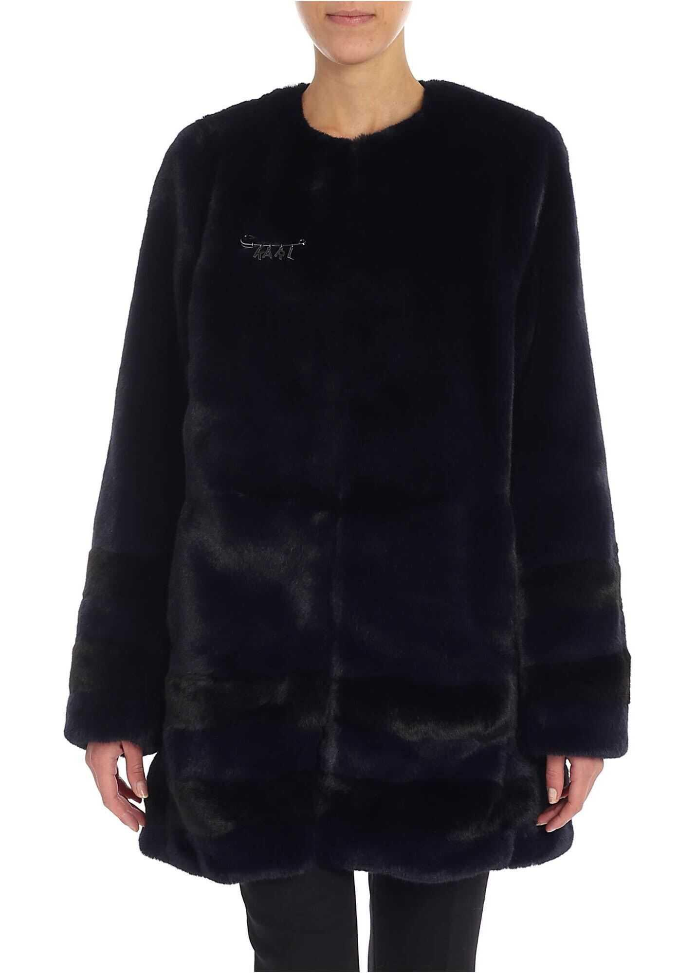 Karl Lagerfeld Blue Eco-Fur Coat Blue