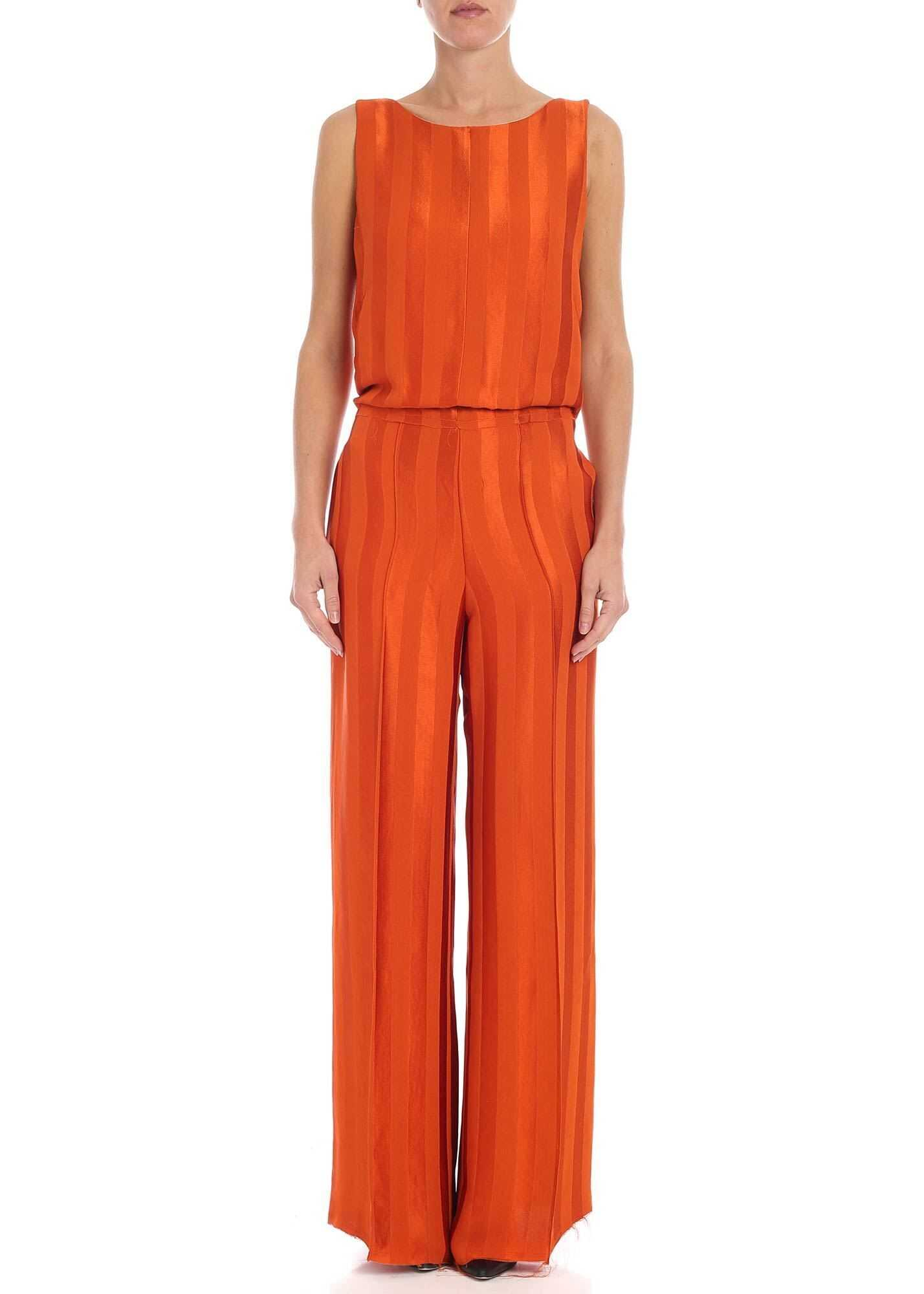 Golden Goose Orange Striped Jumpsuit Orange