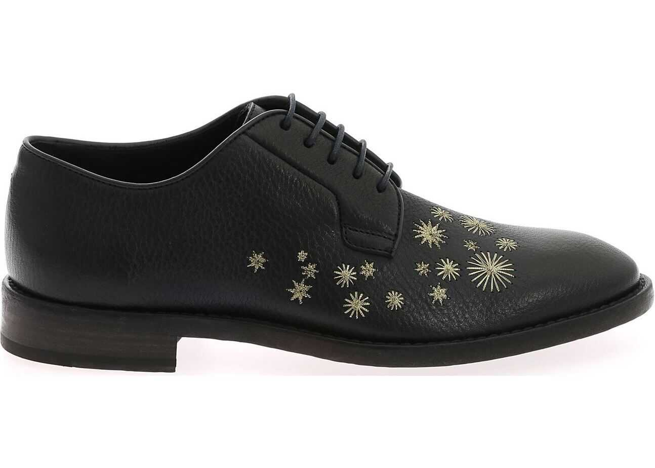 Paul Smith Blue Derby Shoes With Golden Embroidery Blue