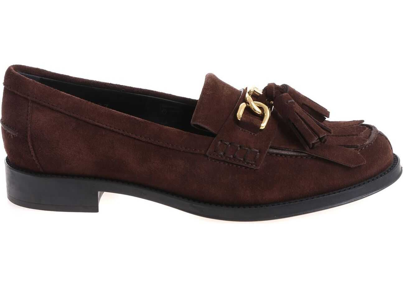TOD'S Brown Loafers With Tassels And Fringes Brown
