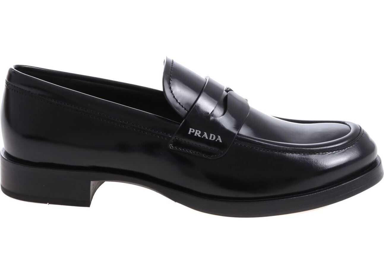 Prada Black Loafer With Printed Logo Black