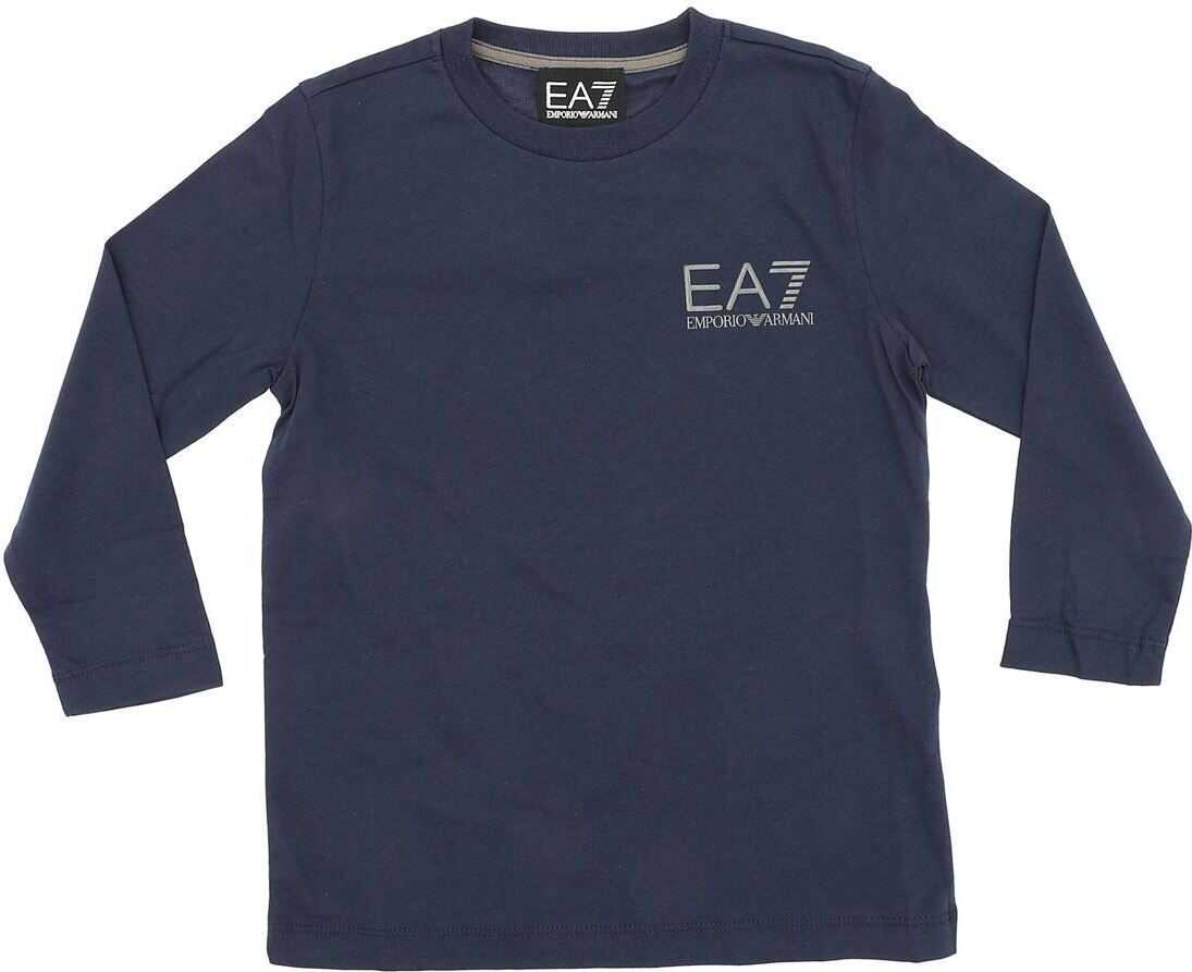 Blue Long-Sleeve T-Shirt With Logo