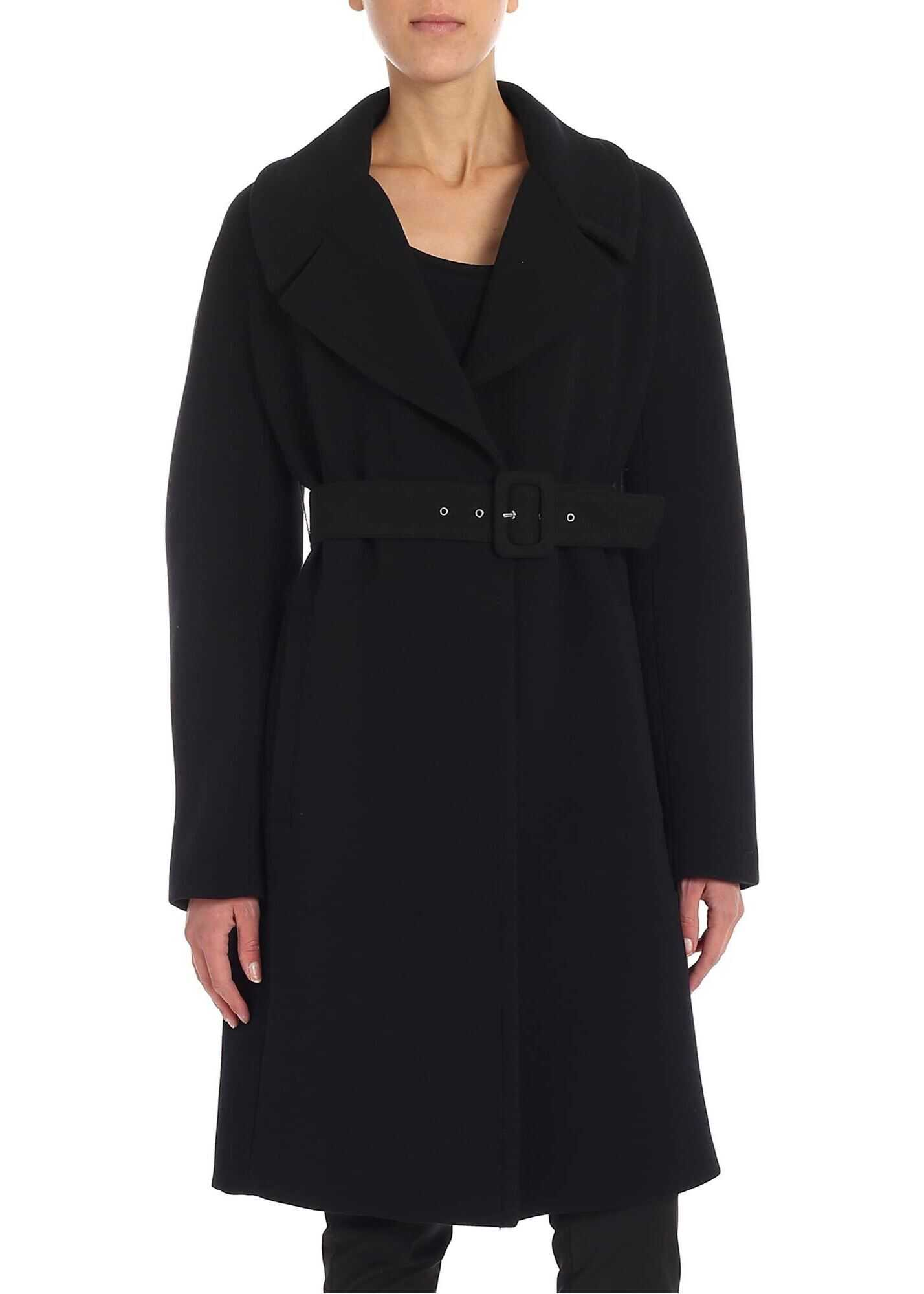 Black Coat With Belt