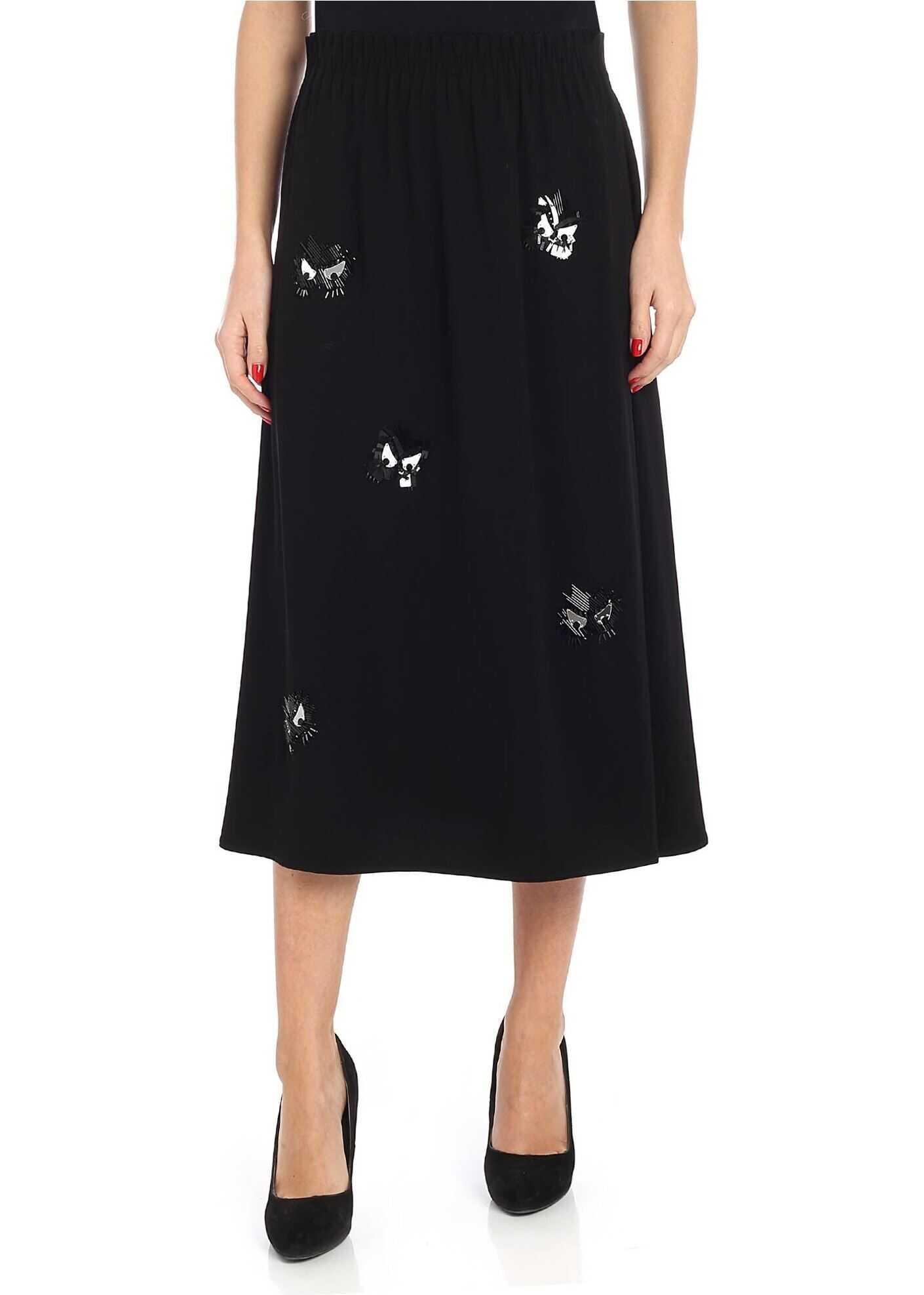 MCQ Alexander McQueen Black Midi Skirt With Beads And Sequins Black