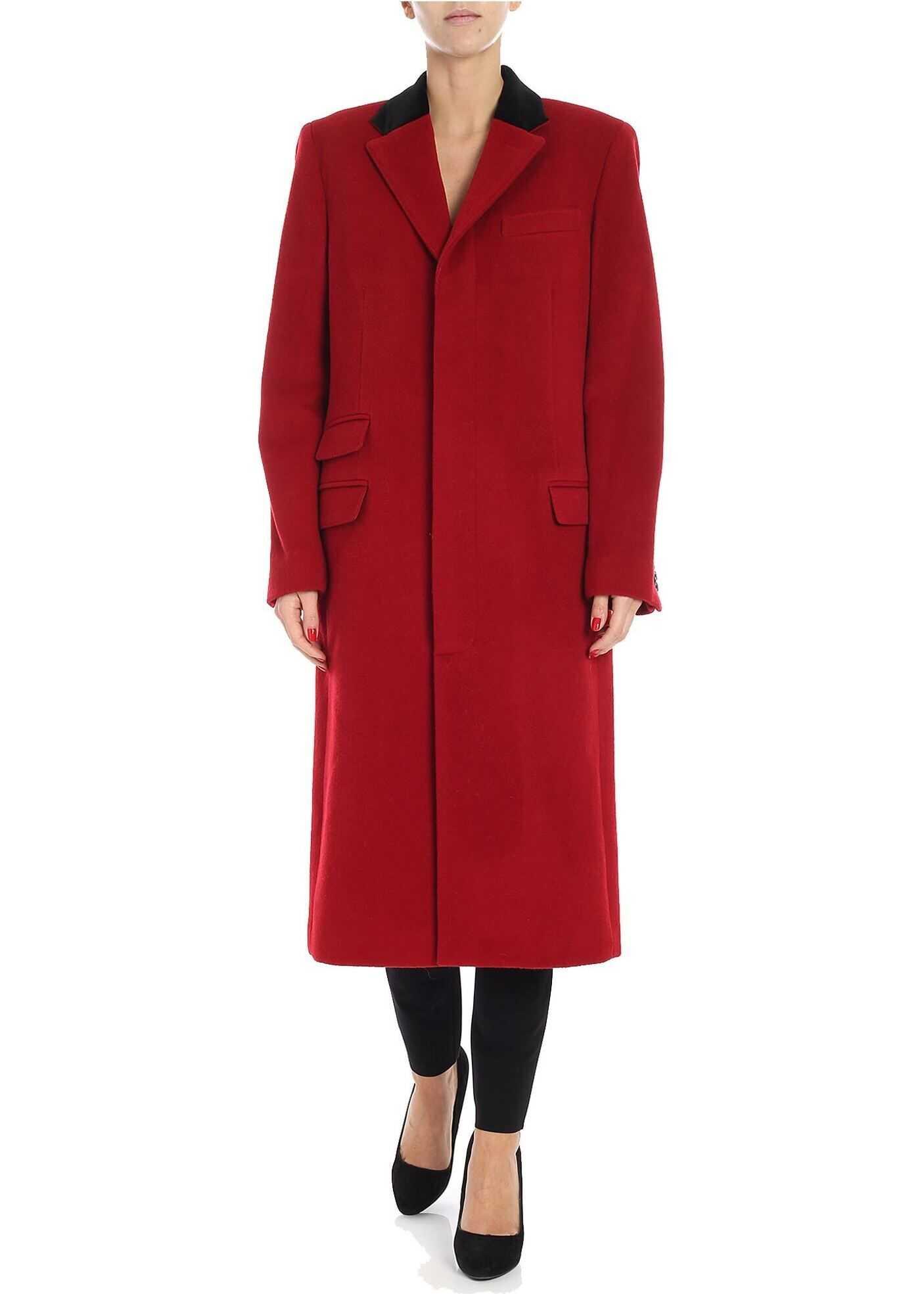 Ralph Lauren Red Woolen Cloth Long Coat Red