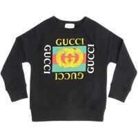 Bluze Black Sweatshirt With Logo Print Baieti