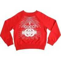 Bluze de trening Red Sweatshirt With Logo Print And Rhinestones Fete