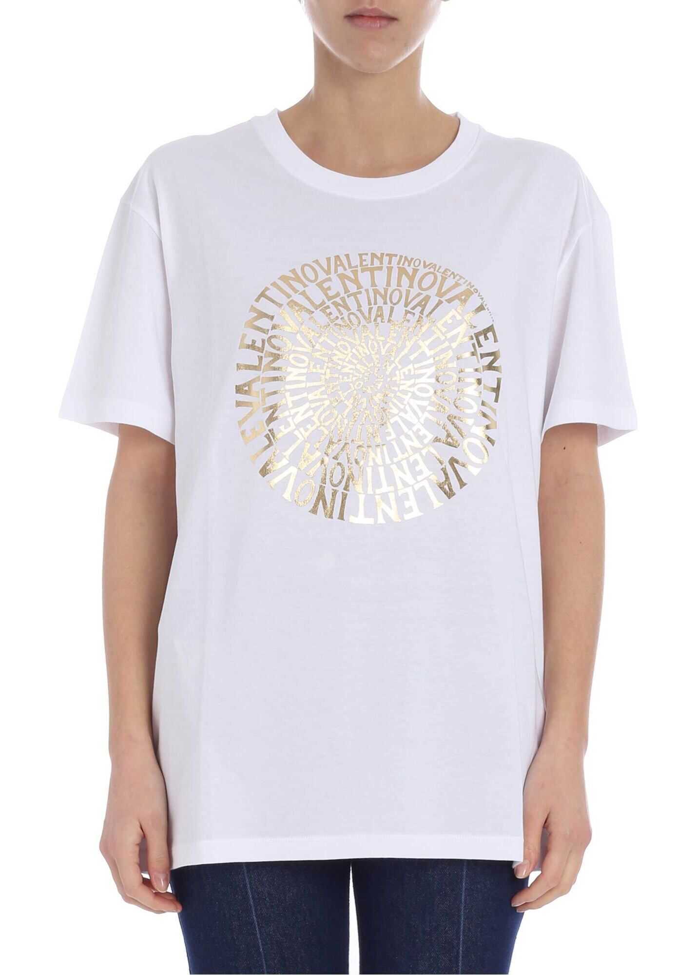 Crew Neck T-Shirt With Golden Vertigo Logo