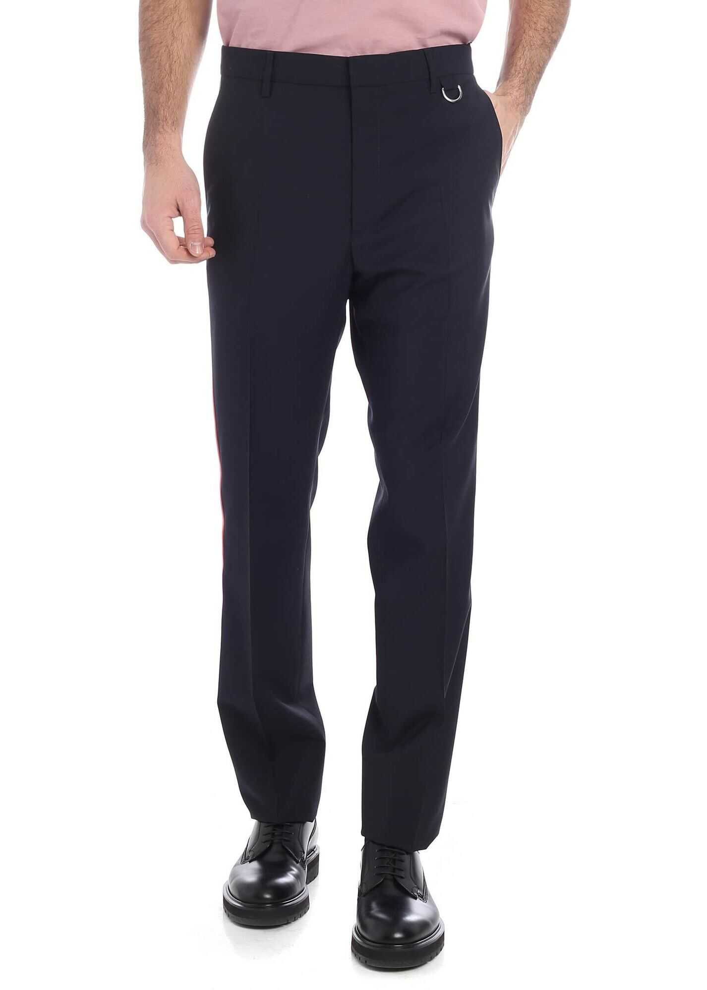 Valentino Garavani Blue Trousers With A Pink Side Band Blue imagine