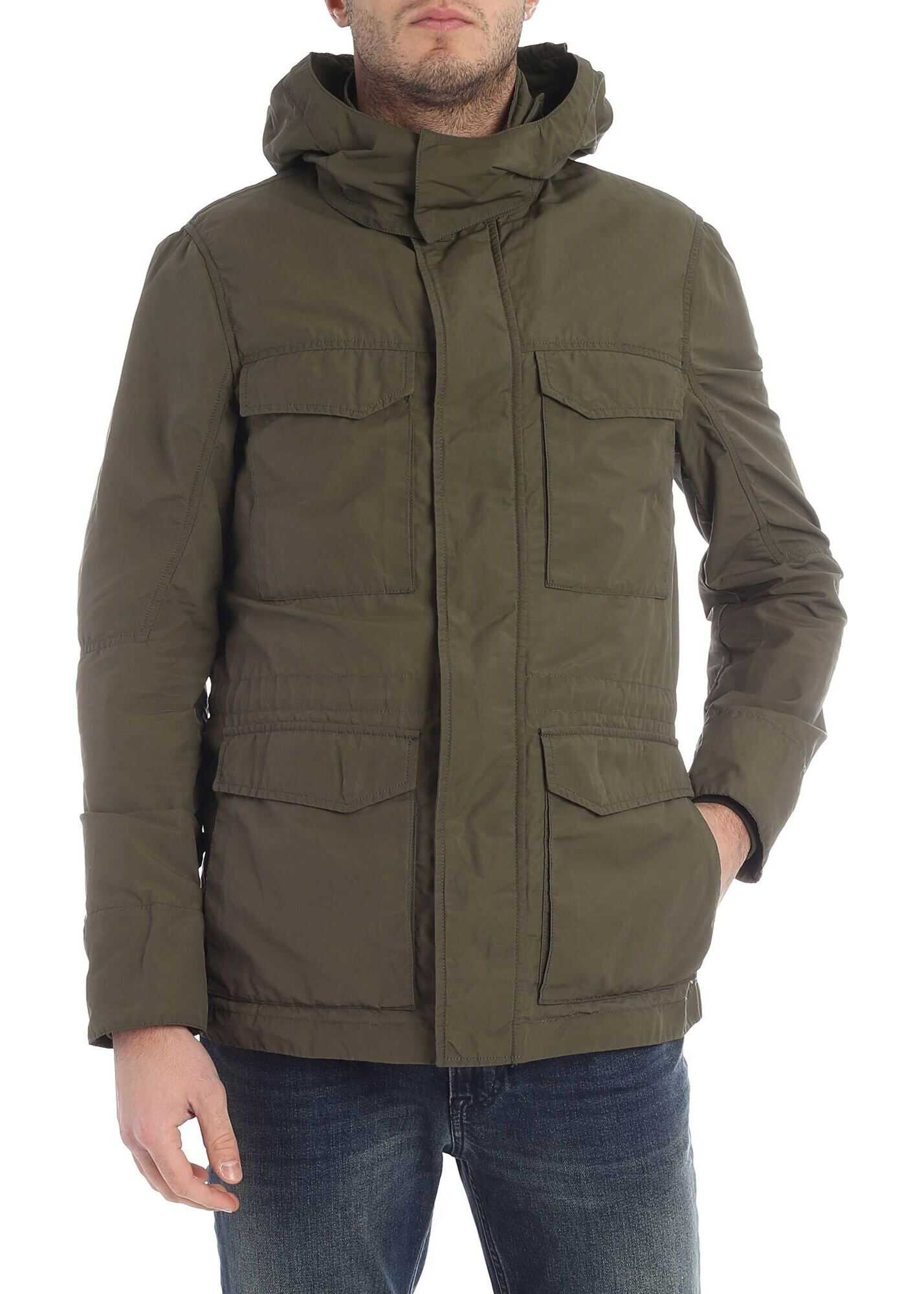 Utility Army Green Hooded Jacket