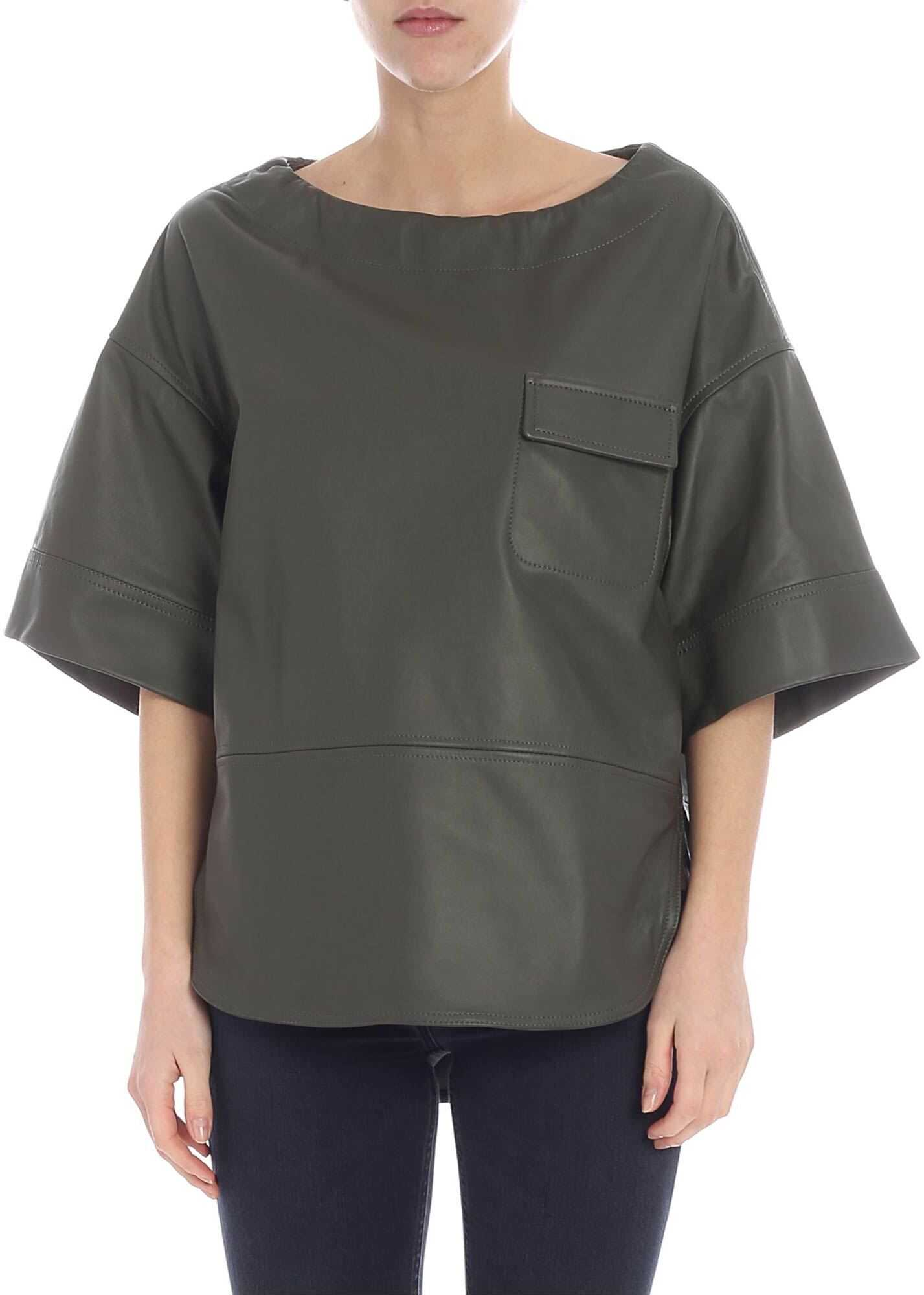 Golden Goose Anne Olive Green Leather Blouse Green