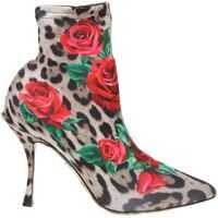 Ghete & Cizme Dolce & Gabbana D&G Animalier Ankle Boots With Roses