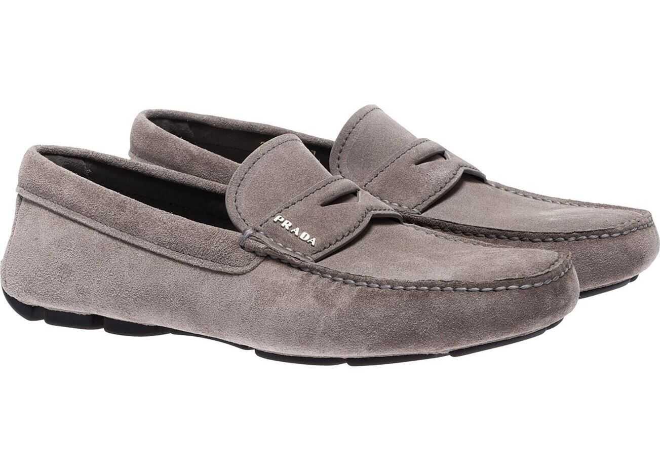 Prada Gray Suede Loafers By Prada Gray